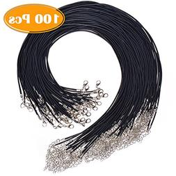 Paxcoo 100Pcs Black Waxed Necklace Cord with Clasp Bulk for