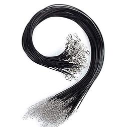 KeyZone 100 Pcs 18 Inches 1.5mm Black Waxed Necklace Cord wi