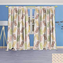 Philiphome Blackout Burgundy Curtains Pineapples in Various