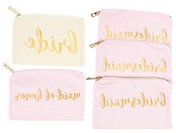 Bridal Shower Makeup Bag - 5-Pack Cosmetic Pouches for Weddi
