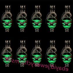 Bulk 10pcs! Silver Mask Glow In The Dark GREEN Beads Cage Lo
