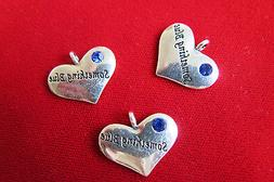 "BULK! 15pc ""Something blue"" charms in antique silver style"