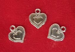 """BULK! 30pc """"heart"""" charms in antique silver style"""