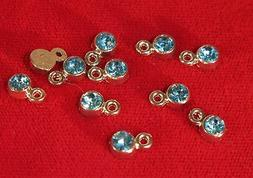 """BULK! 50pc 5mm """"aquamarine"""" color charms in antique silver s"""