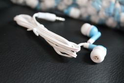 BULK Lot of 50 - BLUE/WHITE - 3.5mm In-Ear Earbuds / Earphon