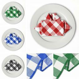 Bulk Sale 15 &17 in. Checkered Gingham Polyester Napkins 4 c