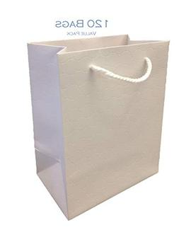 Modeeni White Gift Bags with Handles Bulk Medium 120 Pack Wh