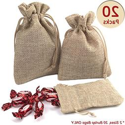 ADVcer Burlap Bags with Drawstring Set, 5.5 x 4 and 4.8 x 3.