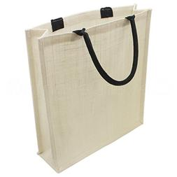 10 Pack - CleverDelights White Burlap Shopping Bag with Cott