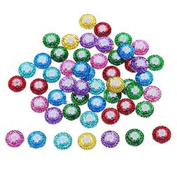 Buttons - 50pcs 12mm Colorful Resin Button Flatback Scrapboo