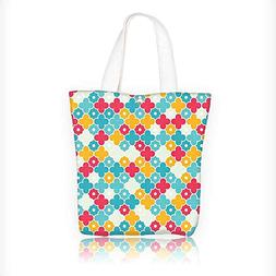 Canvas Tote Bag Colorful Petal Clover Leaves Pattern Bohemia
