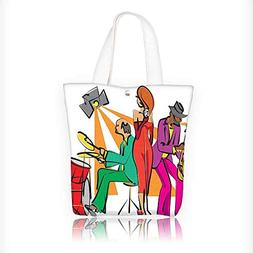 canvas tote bag Jazz Band Playing on the Stage with a Stylis