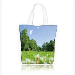 Canvas Zipper Tote Bag Printed White clover bloom in the par