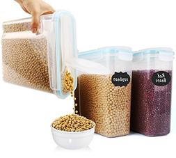 MCIRCO Large Cereal Container Keeper - Set of 3 Plastic Stor
