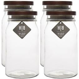 Blue Harbor  35oz Clear Glass Storage Jars With Wood Lids De