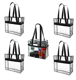 5 Pack Large Size Clear Stadium Tote Bag - Perfect for Any M