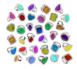 Colorful Rhinestone Rings Bulk Party Pack Of 144 Plastic Jew