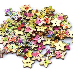 100pcs Colorful Star Shape 2 Holes Wooden Sewing Buttons