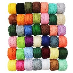 CurtzyTM 42 Colourful Crochet Cotton Thread Reels, Balls, Sk