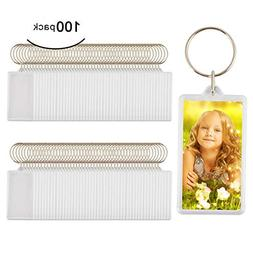 100pcs Custom Personalised Insert Photo Acrylic Blank Keyrin