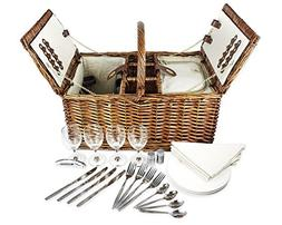 Delux Double Lid Classic Wicker Picnic Basket - Large 4-Pers