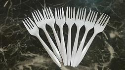 Disposable Plastic Cutlery in Bulk, Medium Weight & White Fo
