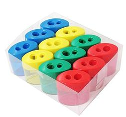 Mega Pack Of 12 Double Hole Oval Shaped Pencil Sharpener Wit