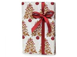 Elegant HOLLY BERRY TREES Christmas Holiday Gift Wrap Paper