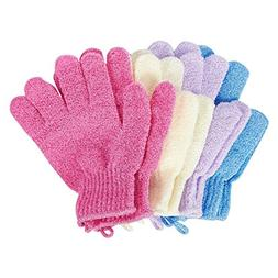 4 Pair Exfoliating Gloves - Scrubbing Gloves with Hanging Lo