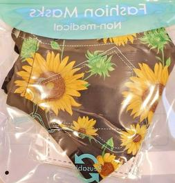 FASHION FACE MASK  SUNFLOWER theme Reusable Washable,1 in Pa