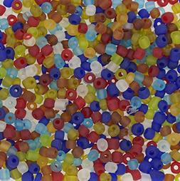 Frosted Color Glass Seed Beads, Round, Mixed Color, Size: 6/