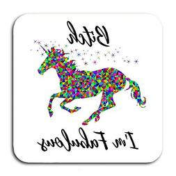 Funny Coasters For Drinks - Unicorn Design With Humorous Quo