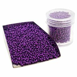 Glass Seed Beads, Baking Varnish, Purple Opaque Colors, Roun