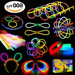 Glowstick 600 Pcs Total 250 Glow Sticks Bulk 7 Colour and Co