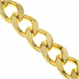 Gold Plated Bulk Chain, Heavy Flattened Curb Links 9.5x12.5m