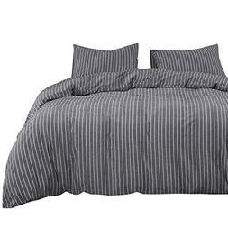 Wake In Cloud - Gray Striped Duvet Cover Set, 100% Washed Co