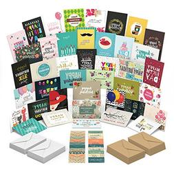 Happy Birthday Cards Assortment with 40 Unique Birthday Card