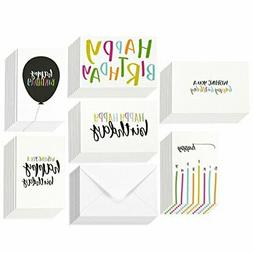 48 Pack Happy Birthday Greeting Cards, 6 Handwritten Modern