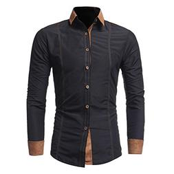 iLXHD Men Shirt Fashion Solid Color Male Casual Long Sleeve
