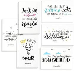 48 Pack Inspirational Bible Verse Quote Greeting Cards - Rel
