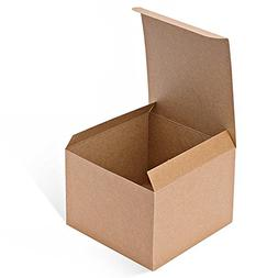 MESHA Kraft Boxes 5 x 5 x 3.5 Inches, Brown Paper Gift Boxes