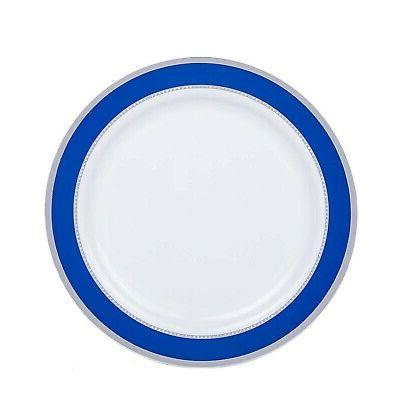 Plates Royal Silver Trim Disposable Bulk