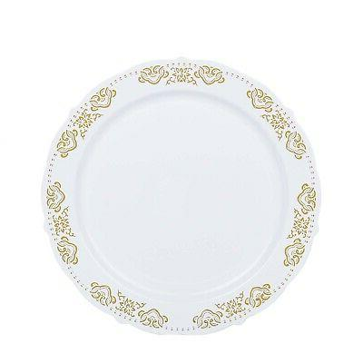 10 White Round Salad Plates Gold Wedding Bulk