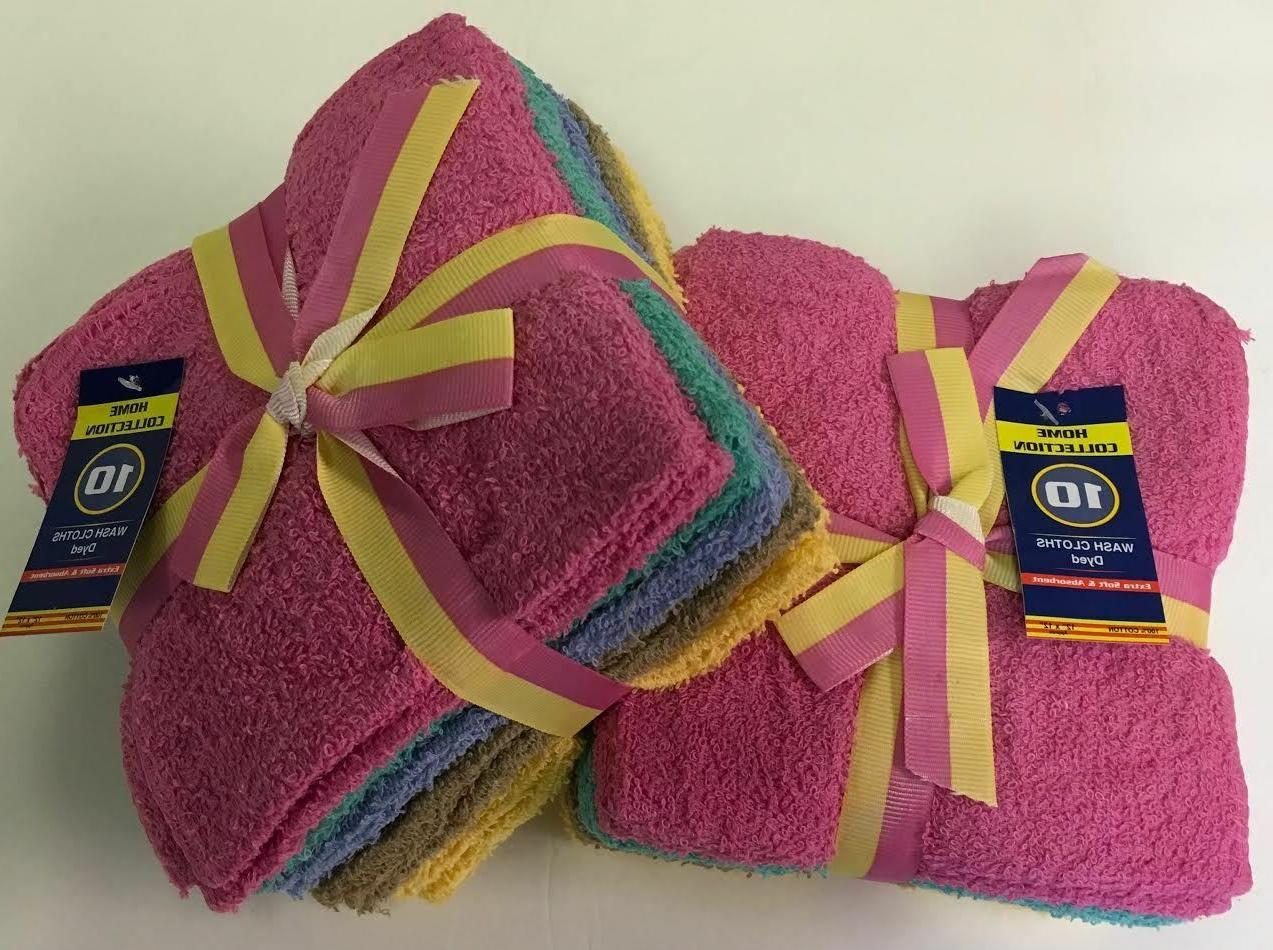 "10 -Pack /100%  Cotton Washcloth Face Towels Size 12"" X 12"""