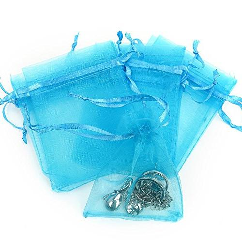 Boshen 100/200PCS Gift Candy Sheer Bags Jewelry Pouches for Wedding Party Christmas Teal Blue)