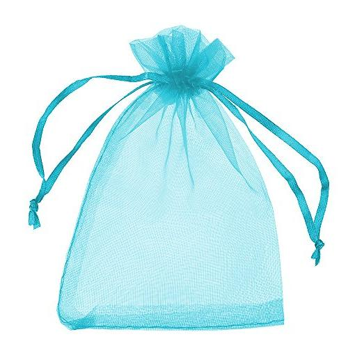"Boshen 100/200PCS Organza Candy Sheer Bags Jewelry Drawstring Bulk for Christmas 3""x4"" 5""x7"" , Teal"