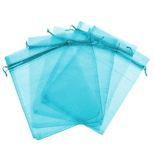 Boshen Organza Candy Sheer Bags Mesh Jewelry Pouches for Favors Christmas , Teal