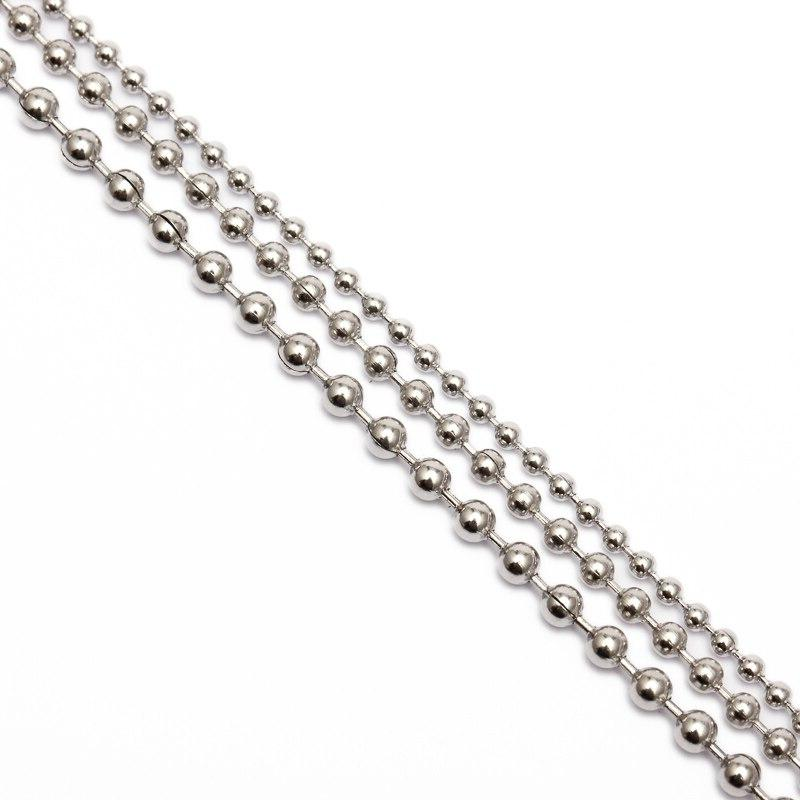 REGELIN 10m/<font><b>Roll</b></font> Dia 2mm 2.4mm Beaded Stainless Chain Jewelry Chains for Jewelry Making
