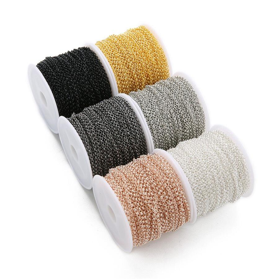 Ckysee 10Yards/<font><b>Roll</b></font> Width O Link Gold Black Color Iron Chain Diy Jewelry Making