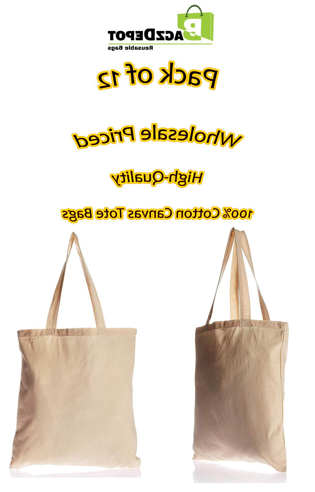 12 Canvas Tote Bags Bulk for Decorating, Favors